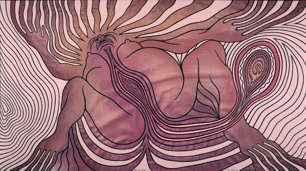 Judy Chicago,  Study for Birth 2 , 1981-1983, Sprayed paint, ink, and embroidery on fabric, 21 x 38 inches