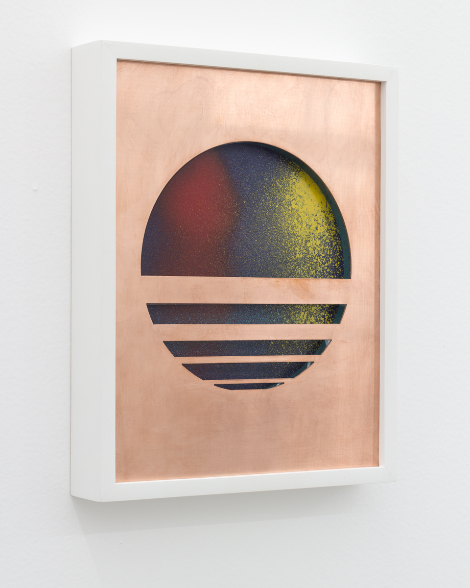Ivan Iannoli,  Sunset , 2018, Copper, spray enamel on cast acrylic, spray enamel on paper, 8 x 10 inches