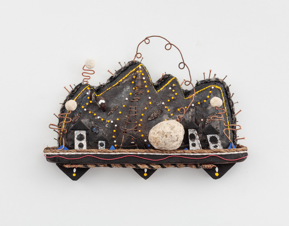 Daniel Rios Rodriguez,  T.A.Z ., 2018, Oil, Flashe, nails, rope, limestone, copper wire, wood on wood, 10.5 x 15 inches