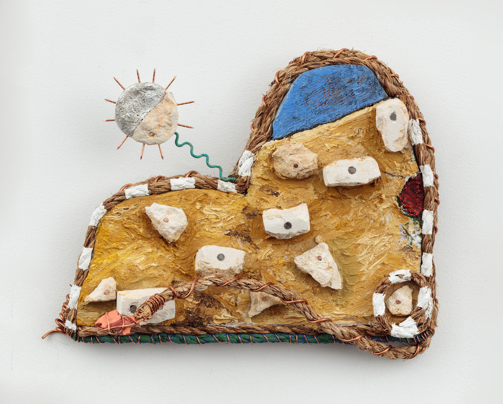 Daniel Rios Rodriguez,  Culebra , 2018, Oil, copper wire, rope, nails, acrylic, foil and limestone on wood, 11 x 9 inches