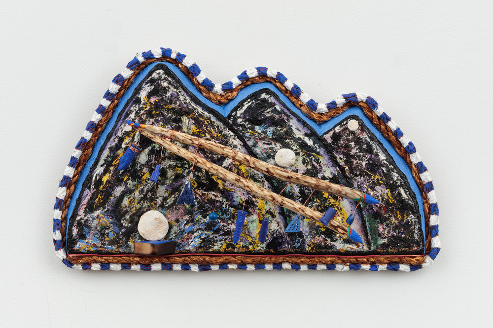 Daniel Rios Rodriguez,  Cielito Lindo , 2018, Oil, wire, limestone, plastic rope and nails on wood, 8 x 14 inches