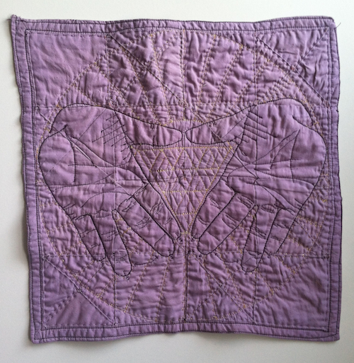 "Nicki Green,  Quilted Lavender Hanky #2.  Quilted cotton and polyester, 12.5"" x 12.5"""