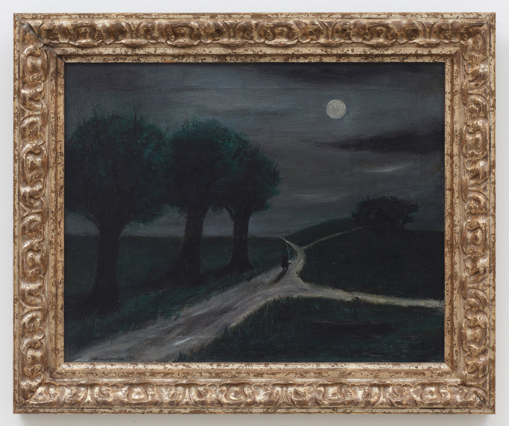 Moonlight Path (Visit at Midnite) , 1941, Oil on canvas, 16 × 20 inches (unframed); 20 3/4 × 24 3/4 inches (framed). Collection of Laura and Gary Maurer