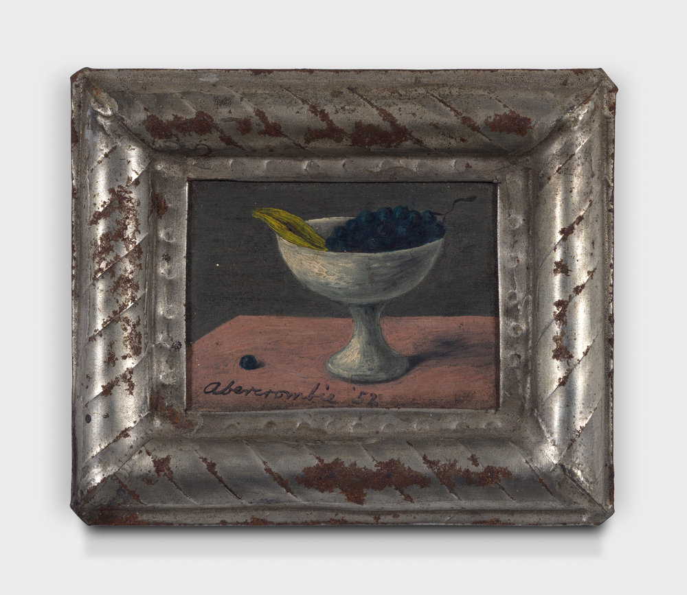 Compote , 1952, Oil on panel, 1 1/4 × 1 3/4 inches (unframed); 2 3/4 × 3 1/4 inches (framed). From the collection of the late Emma N. Loeb.