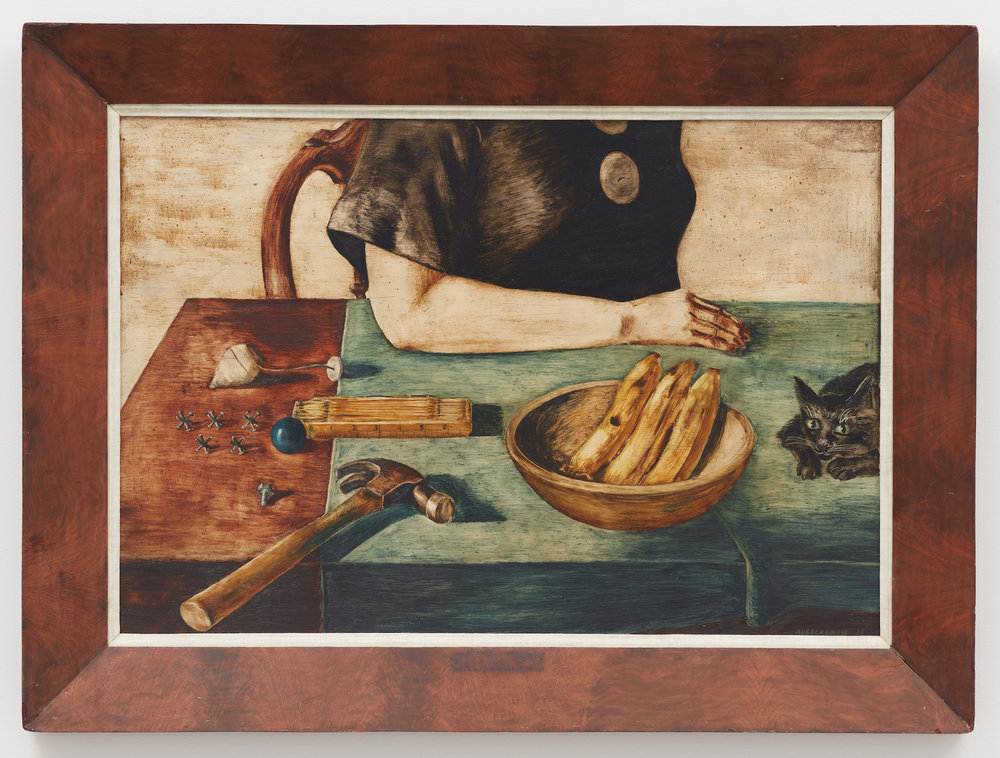 There on the Table,  1935, Oil on masonite, 24 × 34 1/2 inches (unframed); 30 1/4 × 40 1/2 inches (framed). Illinois State Museum, Illinois Legacy Collection, Gift of the Gertrude Abercrombie Trust. Photo: Illinois State Museum.