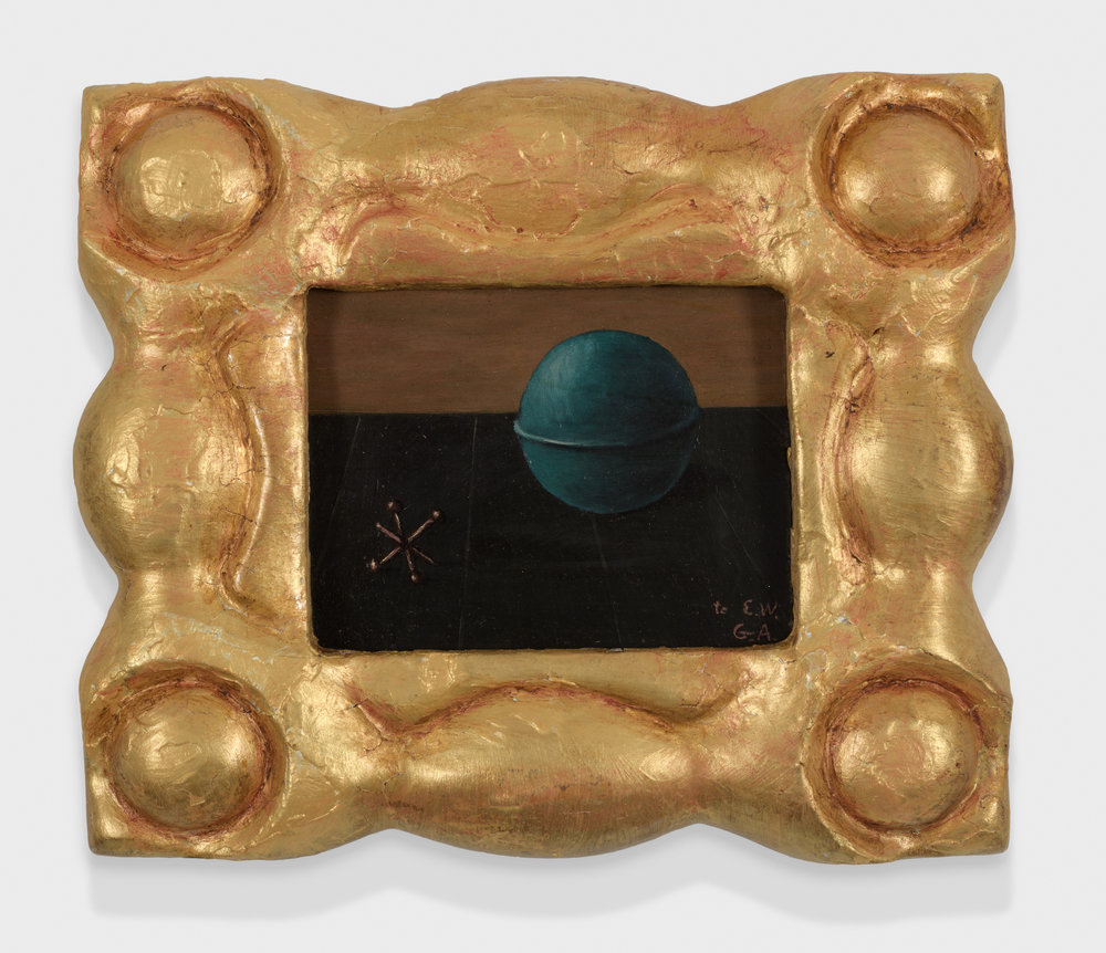 Ball and Jack , c. 1955, Oil on masonite, 2 1/2 × 3 1/4 inches (unframed); 5 1/2 × 6 1/2 inches (framed). Collection of August Becker.
