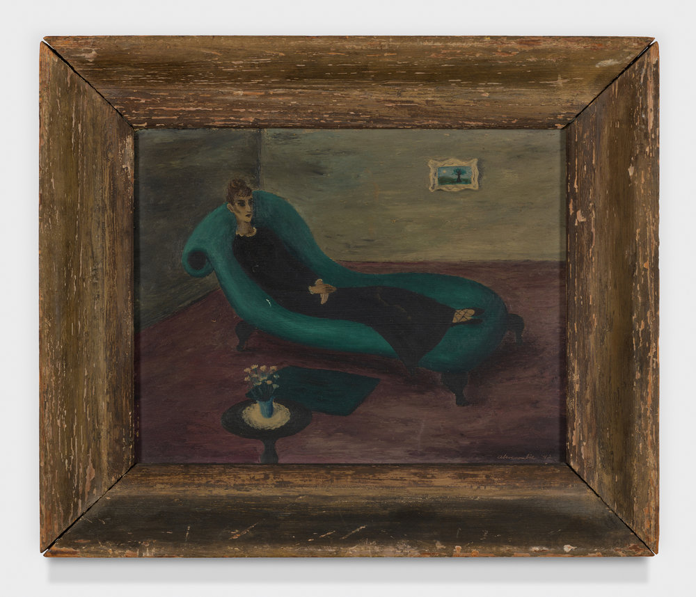 Lady on a Couch,  1942, Oil on panel, 8 × 10 inches (unframed); 11 1/2 × 13 1/2 inches (framed). From the collection of the late Emma N. Loeb.
