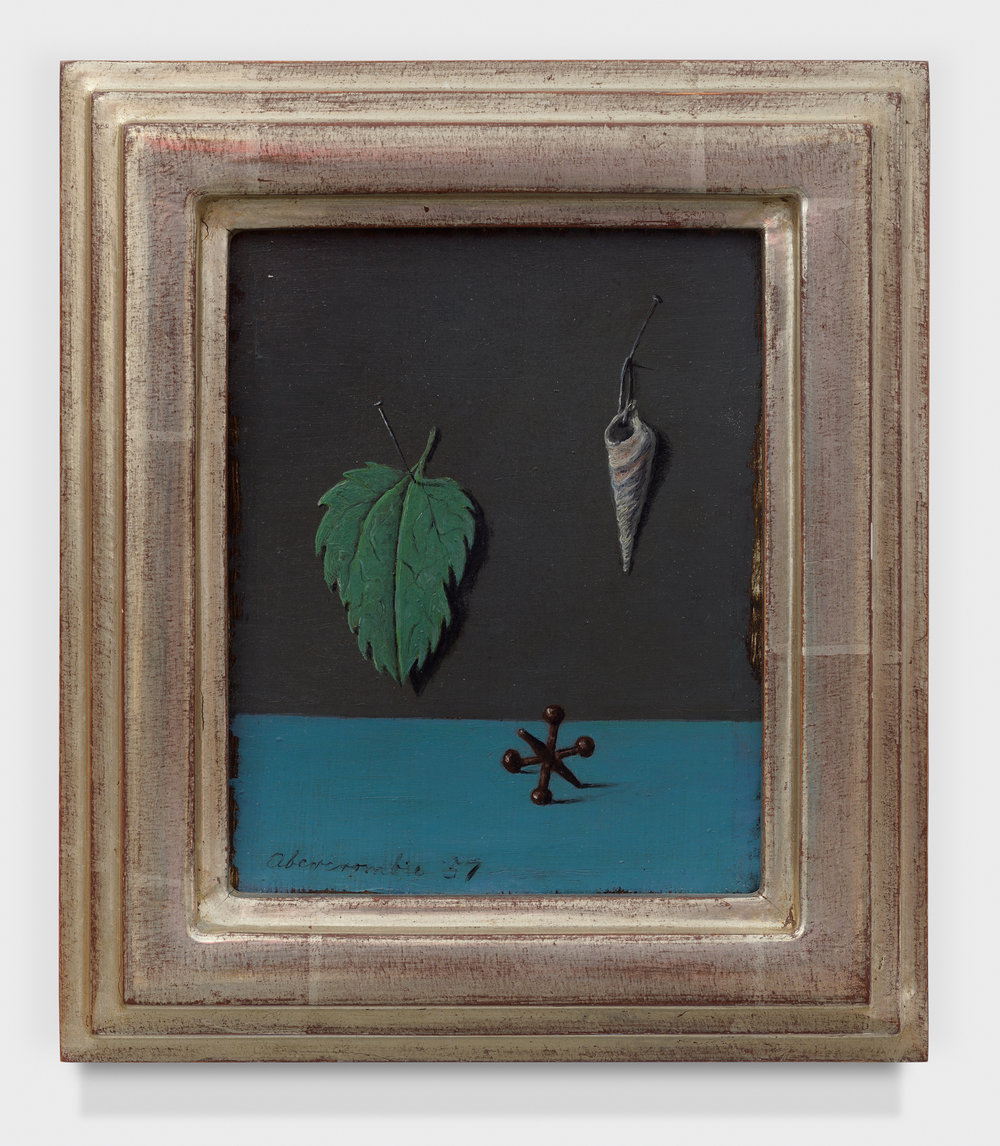 Leaf, Shell and Jack , 1957, Oil on board, 5 × 4 inches (unframed); 7 1/2 × 6 /12 inches (framed). Collection of Laura and Gary Maurer