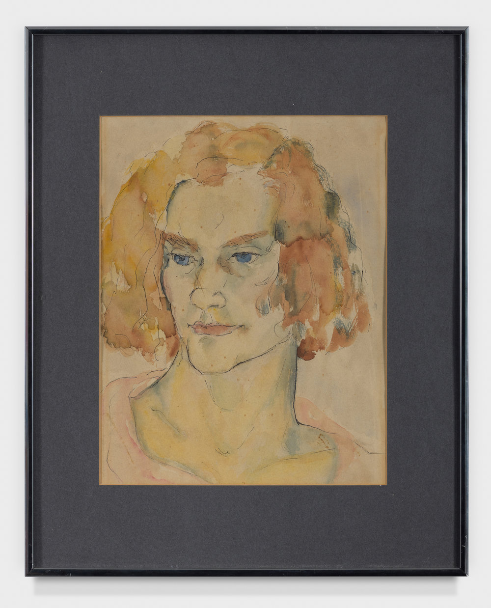 Self Portrait Watercolor,  c. 1940, Watercolor on paper, 14 × 11 inches (unframed); 20 1/4 × 16 1/4 inches (framed). From the collection of the late Emma N. Loeb.