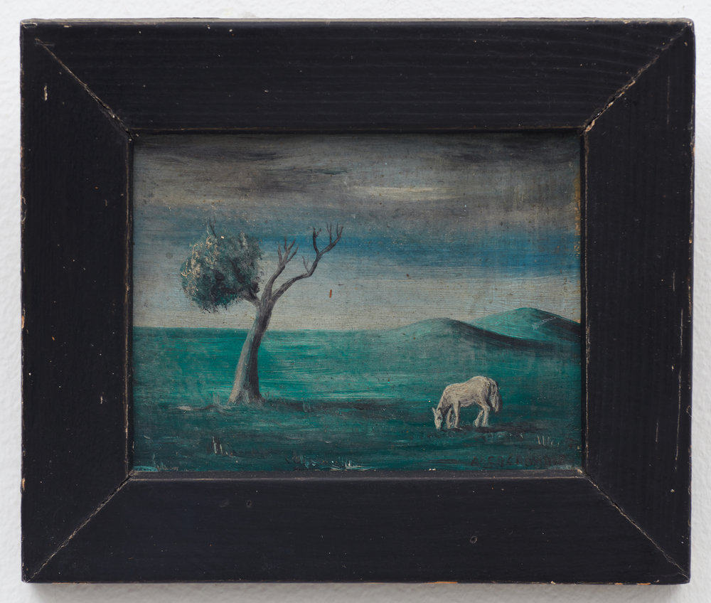 Untitled (Landscape) , n.d., Oil on masonite, 2 7/8 × 3 1/2 inches (unframed); 4 1/2 × 5 inches (framed). Illinois State Museum, Illinois Legacy Collection, Gift of the Gertrude Abercrombie Trust.