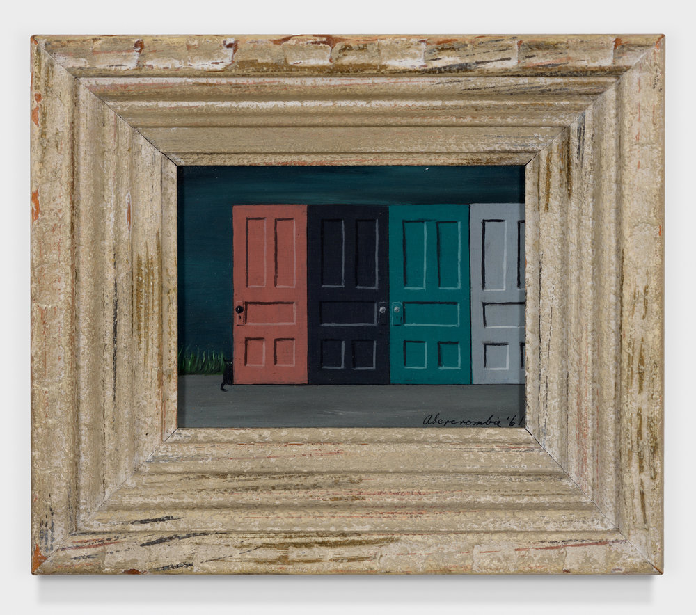 Doors with Black Cat,  1961, Oil on masonite, 4 × 5 inches (unframed); 6 3/4 × 7 3/4 inches (framed). Private collection, New York.