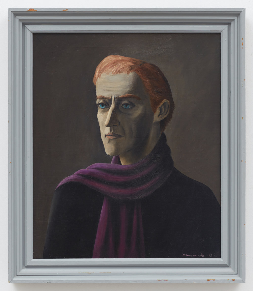 Untitled (Richard Purdy),  1955, Oil on canvas, 24 × 20 1/4 inches (unframed); 28 1/4 × 24 1/2 inches (framed). Illinois State Museum, Illinois Legacy Collection, gift of the Gertrude Abercrombie Trust.