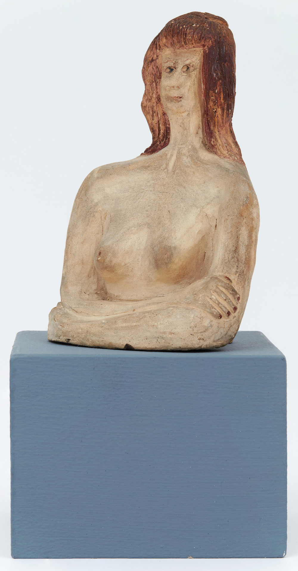 Self Portrait,  c. 1945, Unglazed clay and paint, 5 1/2 × 3 1/2 × 3 inches. Illinois State Museum, Illinois Legacy Collection, Gift of the Gertrude Abercrombie Trust.