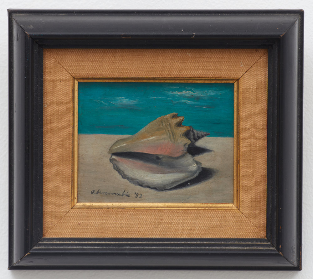 Shell,  1952, Oil on masonite, 4 1/2 × 5 inches (unframed); 5 1/2 × 6 1/4 inches (framed). Private collection, New York.