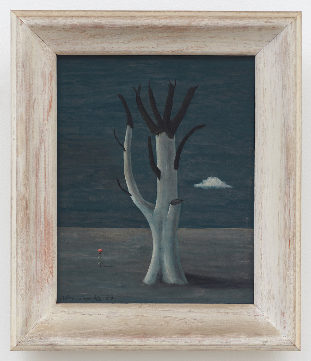 Untitled (Tree at Aledo Variation) , 1963, Oil on masonite, 10 × 8 (unframed); 12 3/4 × 10 3/4 inches (framed). Illinois State Museum, Illinois Legacy Collection, Gift of the Estate of Maurine Campbell.