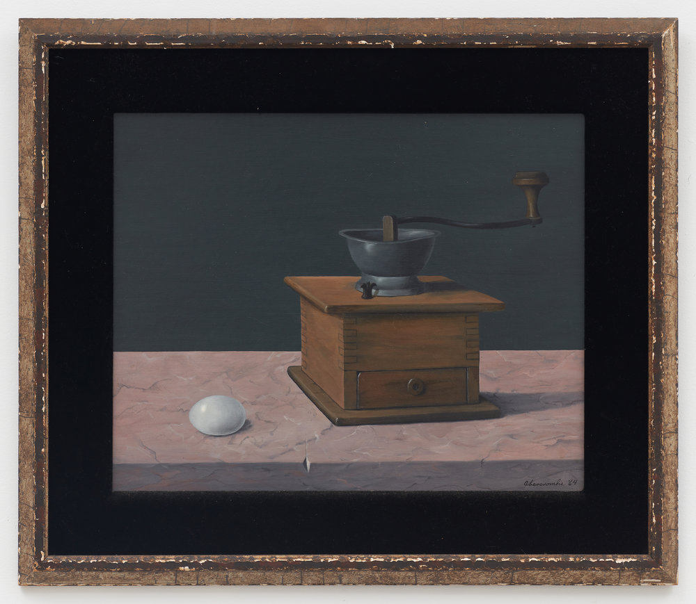 Coffee Mill , 1964, Oil on board, 15 7/8 × 19 3/4 inches (unframed); 23 × 27 inches (framed). Private collection.