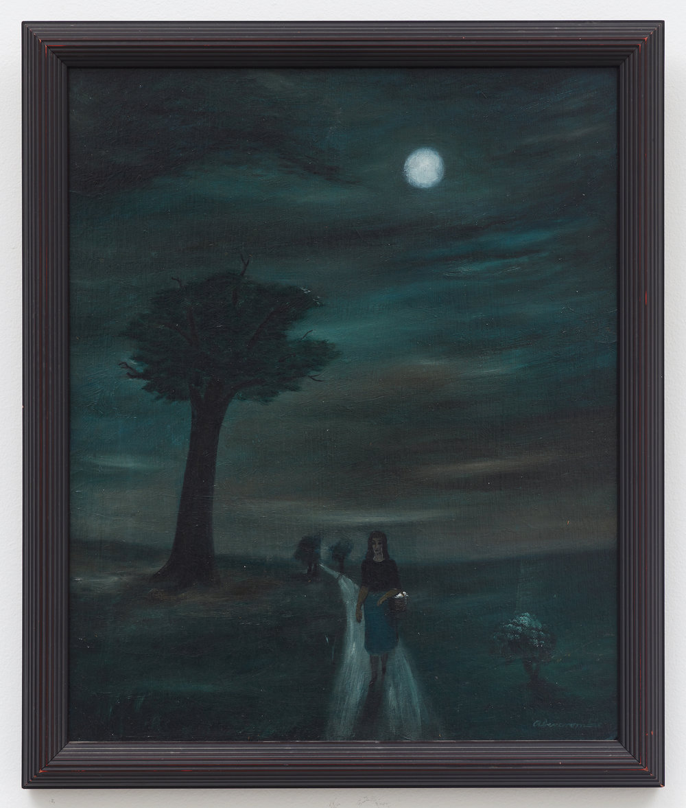 Untitled (Figure on Moonlit Path) , n.d., Oil on board, 16 3/4 × 13 3/4 inches (unframed); 18 1/2 × 15 1/2 inches (framed). Collection of Laura and Gary Maurer.