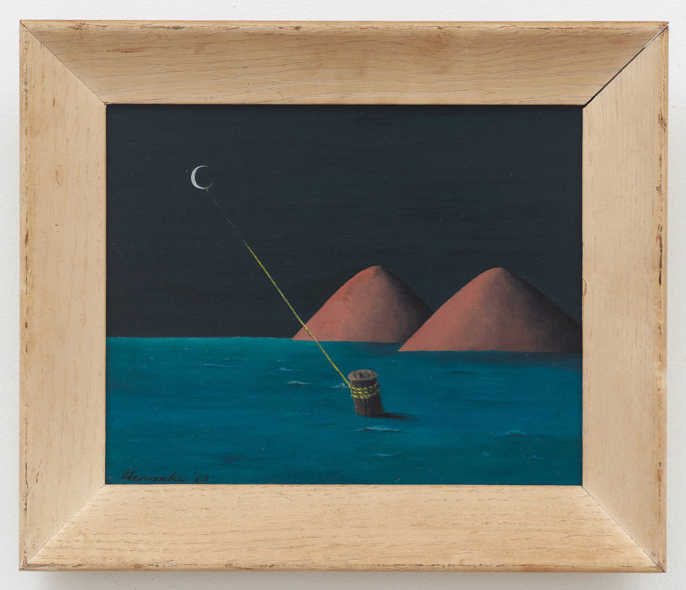 Moored to the Moon,  1963, Oil on board, 8 × 10 inches (unframed); 10 3/4 × 12 3/4 inches (framed). Private collection.