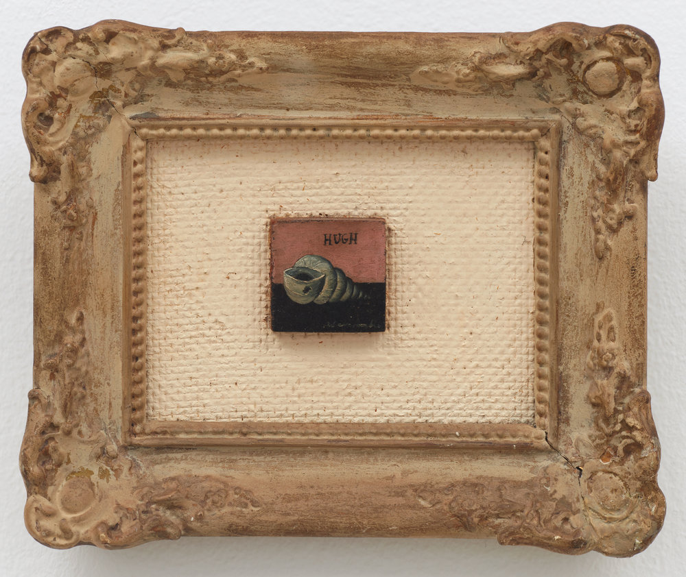 Shell Miniature,  n.d., Oil on board, 1 × 1 inches (unframed); 8 × 10 inches (framed). Private collection.