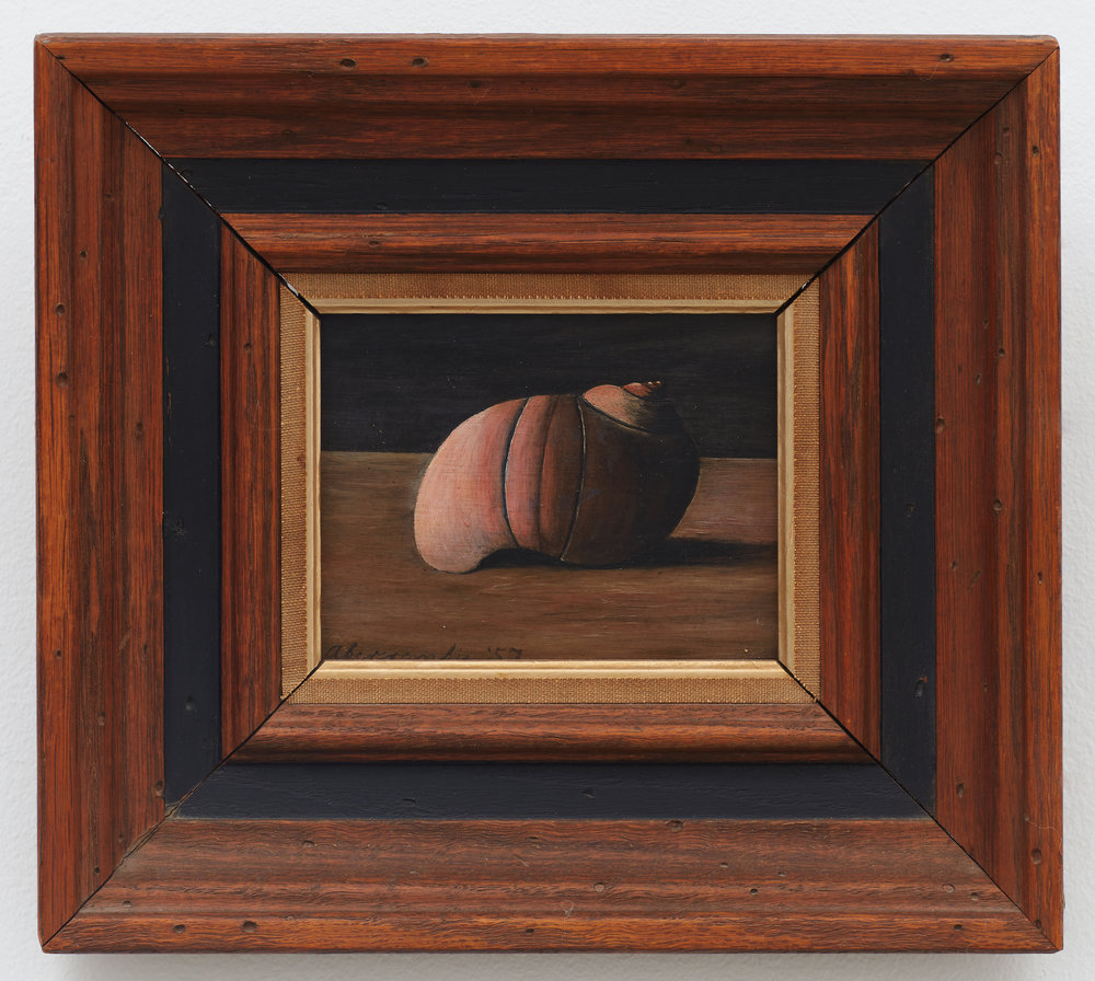 Untitled (Shell) , 1957, Oil on board, 4 × 5 inches (unframed); 9 × 10 inches (framed). Collection of Laura and Gary Maurer.