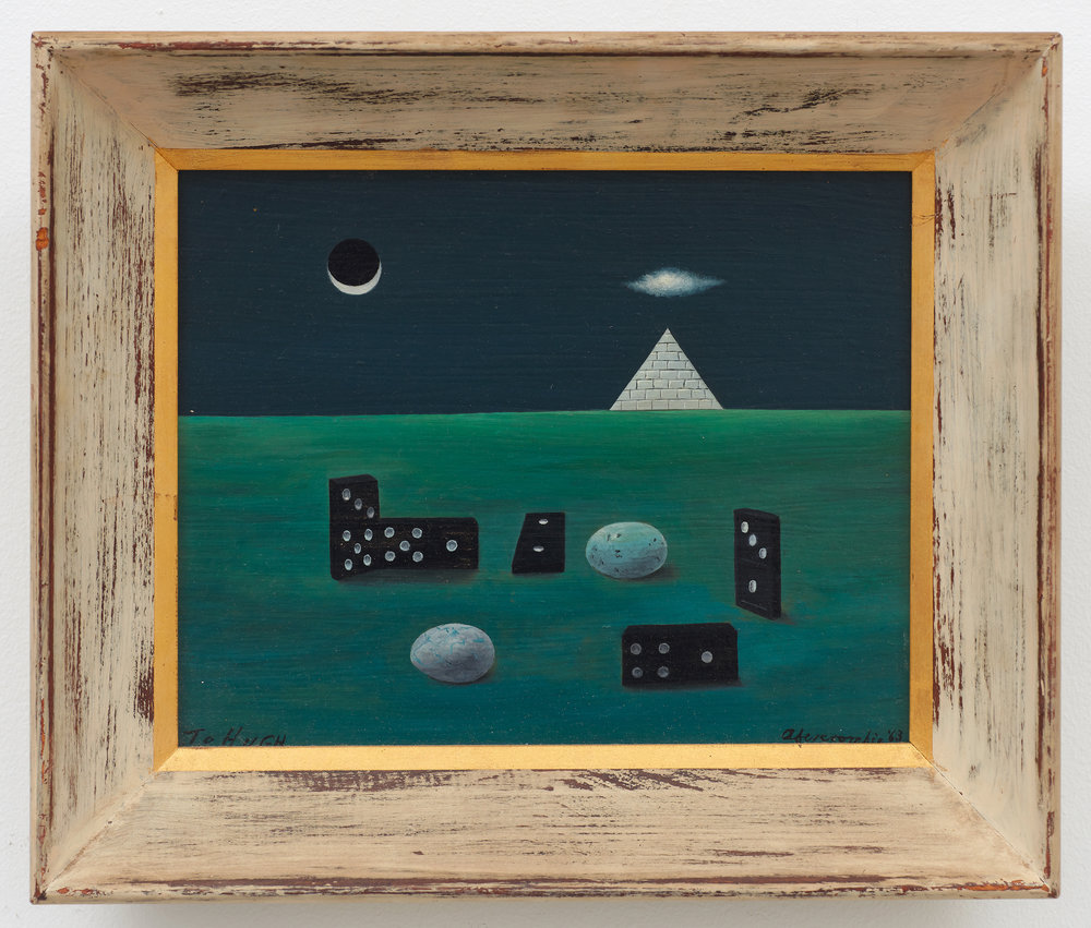 Birds, Eggs and Dominoes with Pyramid,  1963, Oil on board, 7 7/8 × 10 inches (unframed); 11 × 13 inches (framed). Private Collection.
