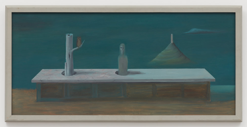 Marble Top Mystery,  c. 1950, Oil on canvas. 20 × 42 1/4 inches (unframed); 22 × 44 inches (framed). Illinois State Museum, Illinois Legacy Collection, Gift of the Gertrude Abercrombie Trust.