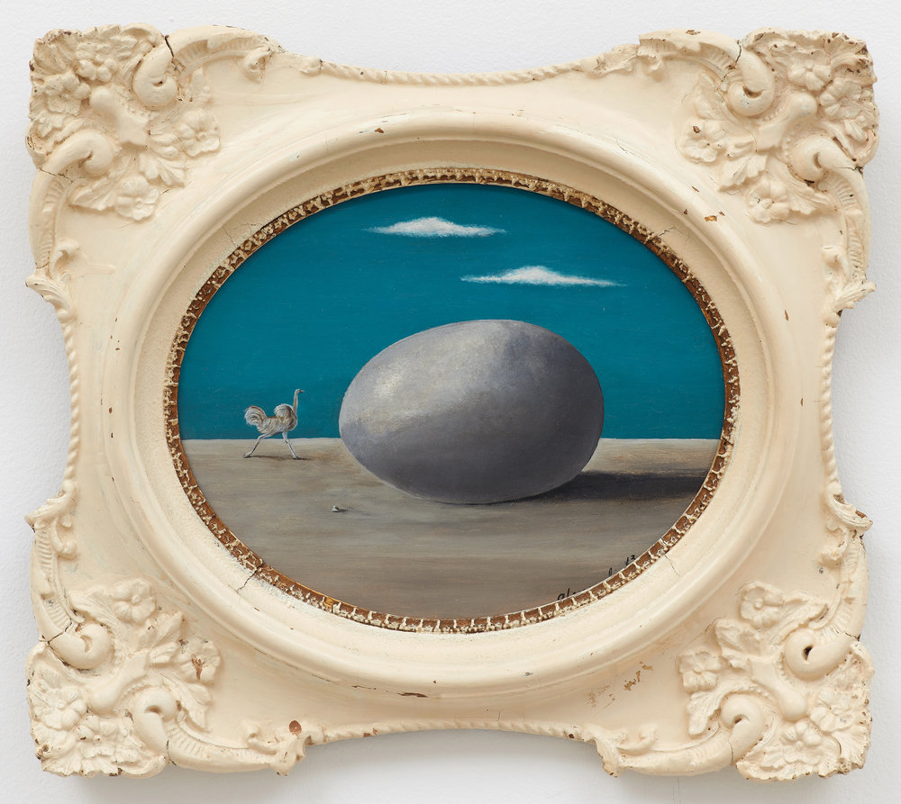 The Ostrich Egg,  1963, Oil on masonite, 8 × 10 inches (unframed); 12 × 14 inches (framed). Illinois State Museum, Illinois Legacy Collection, Gift of the Gertrude Abercrombie Trust.