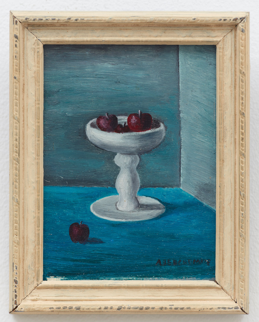 Untitled (Still Life with Apples) , c. 1940, Oil on masonite, 4 × 3 inches (unframed); 4 3/4 3 × 3/4 inches (framed). Illinois State Museum, Illinois Legacy Collection, Gift of the Gertrude Abercrombie Trust.