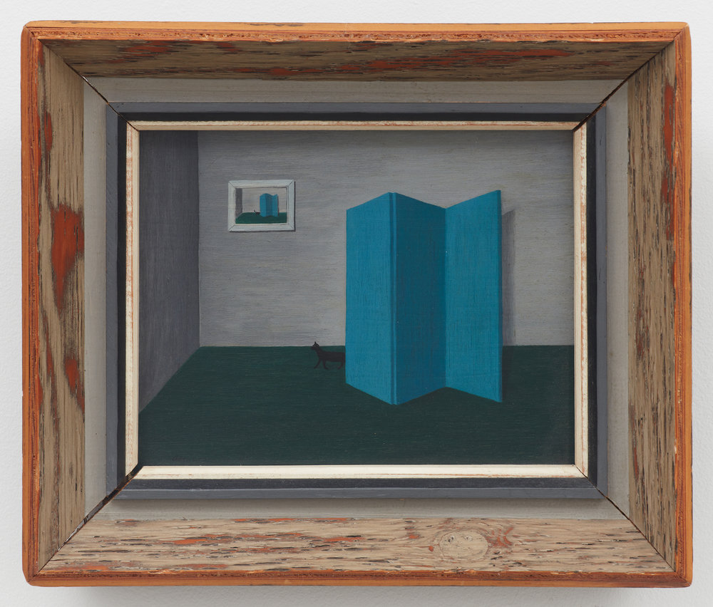 Untitled (Blue Screen, Black Cat, Print of Same), 1945, Oil on board, 8 × 10 inches (unframed); 12 × 14 1/4 inches (framed). Collection of Laura and Gary Maurer.