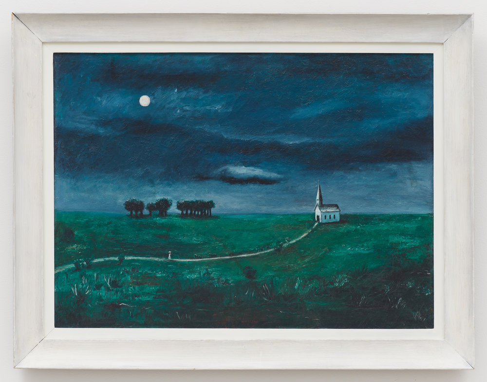 Landscape with Church , 1939, Oil on canvas, 19 1/4 × 26 1/4 inches (unframed); 24 × 31 inches (framed). Collection of Laura and Gary Maurer.