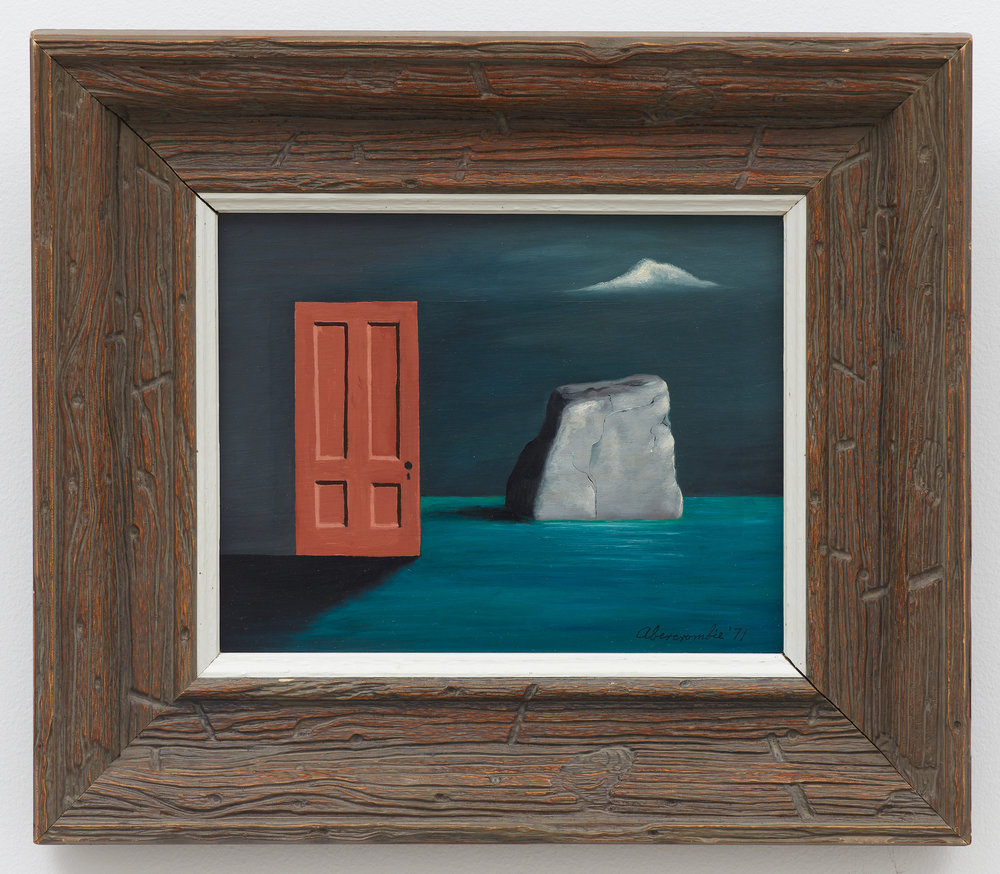 The Door and the Rock,  1971, Oil on masonite, 8 × 10 inches (unframed); 13 1/2 × 15 1/2 inches (framed). Collection of Laura and Gary Maurer.
