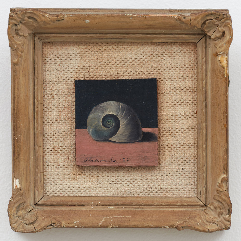 Shell Miniature,  1954, Oil on board, 2 1/8 × 2 inches (unframed); 12 × 8 inches (framed). Private collection.