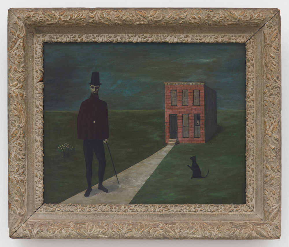 Mysterious Stranger (Man, House and Lady) , 1953, Oil on board, 16 × 20 1/4 inches (unframed); 22 × 25 3/4 inches (framed). Private collection.