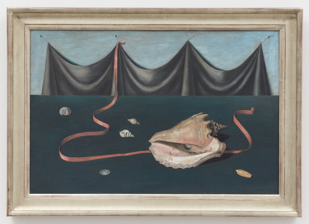 Shell and Drape,  1952, Oil on canvas, 24 × 36 inches (unframed); 29 3/4 × 42 inches (framed). Collection of Laura and Gary Maurer