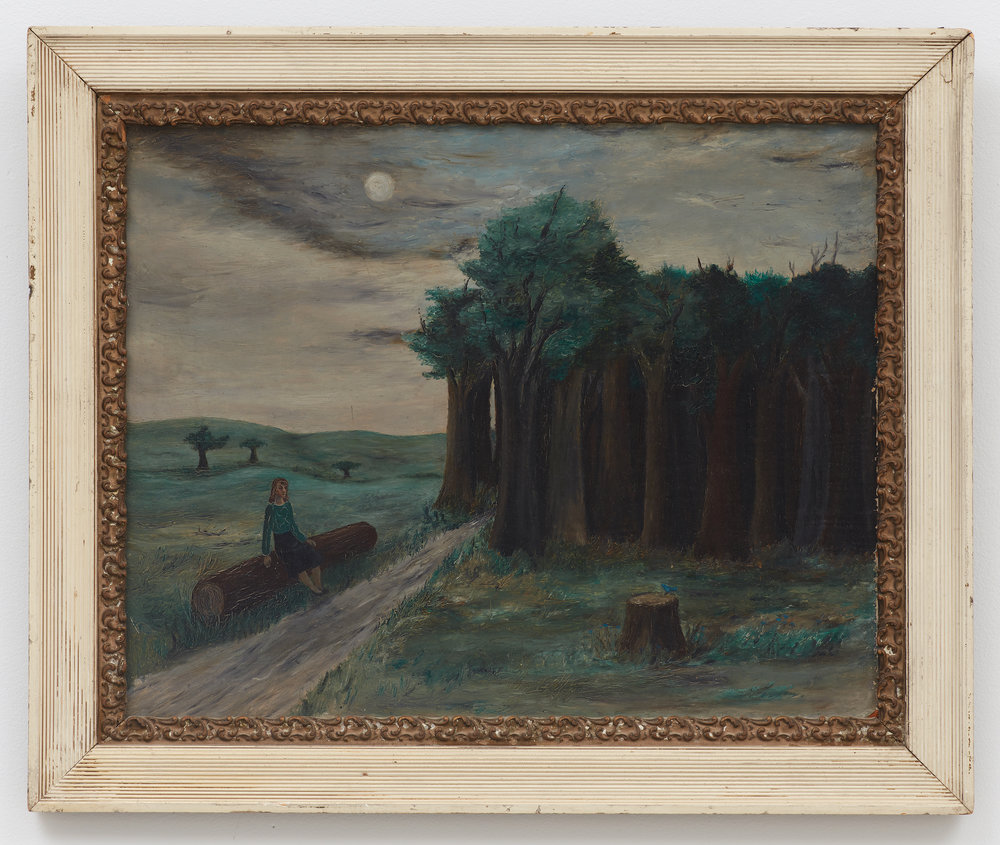 Untitled (Woman sitting on a log) , n.d. Oil on masonite, 16 × 20 inches (unframed); 20 1/2 × 24 1/2 inches (framed). Illinois State Museum, Illinois Legacy Collection, Gift of the Gertrude Abercrombie Trust.