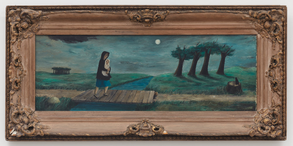 Dinah Enters the Landscape,  1943, Oil on masonite, 12 × 34 inches (unframed); 20 1/2 × 29 1/2 inches (framed