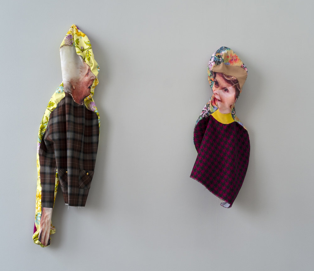 Left: Bean Gilsdorf,  BB , 2018, Polyester, wool, cotton, brass buttons, 46 x 12 x 5.5 inches Right: Bean Gilsdorf,  NR , 2018, Polyester, wool, 34 x 12 x 5 inches