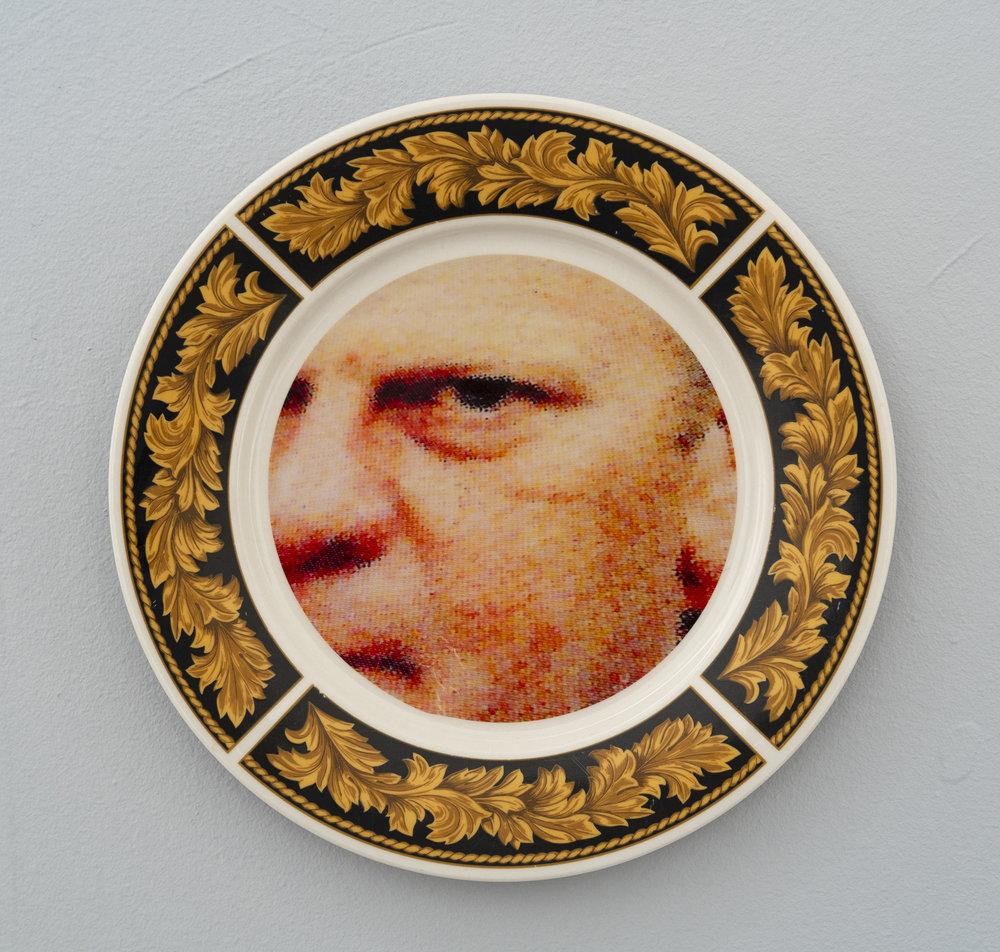 Bean Gilsdorf,  Gerald Ford , 2018, Ceramic plate, 10.5 inch diameter