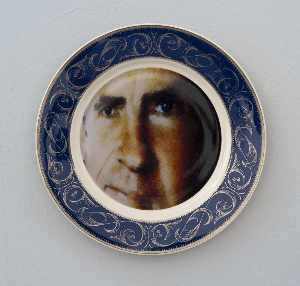 Bean Gilsdorf,  Richard Nixon , 2018, Ceramic plate, 10.25 inch diameter.