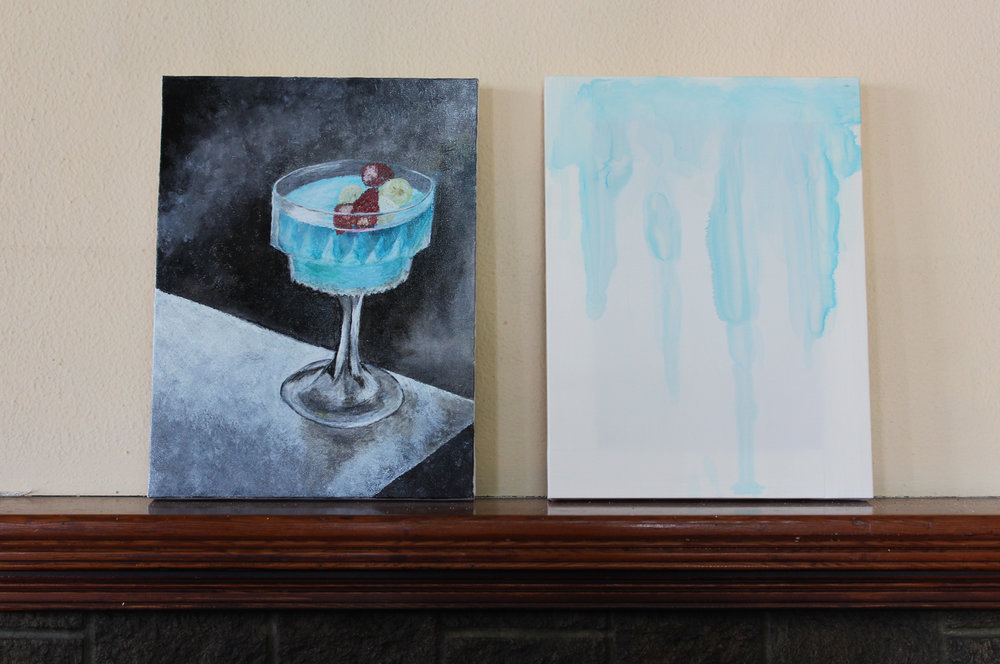 Jacopo Miliani and Antonietta F. Miliani,  Blue Hawaii,  2017, Oil on canvas and rum, curaçao, vodka on silk, 30 x 40 cm each canvas