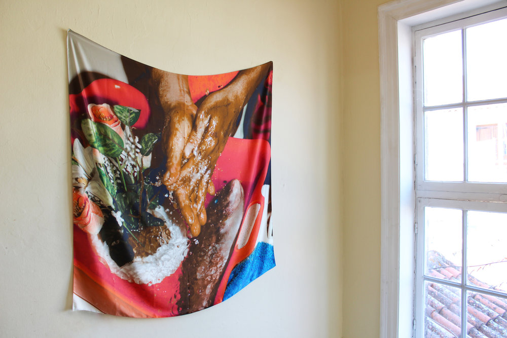Serapis,  Washing Hands , 2018, Inkjet printing on silk, neodymium magnets, 1,40 x 1,40 m, Courtesy Serapis Maritime Corporation