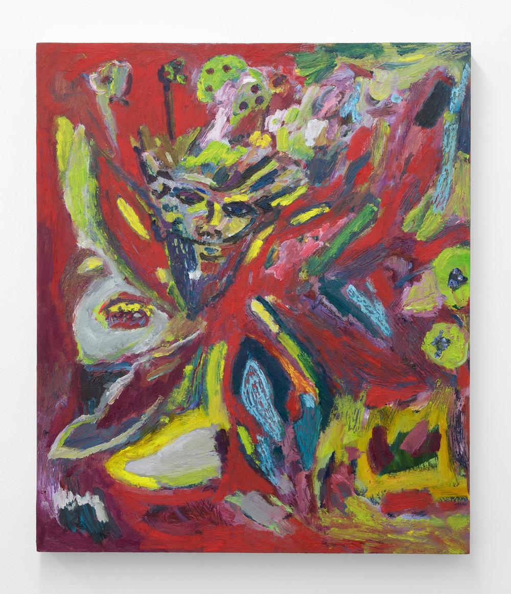 Adrianne Rubenstein,  Moth Man , 2018, Oil on panel, 26 x 22 in