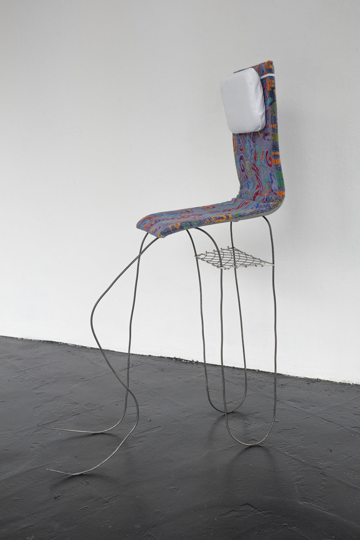 Nina Wiesnagrotzki,  Dragon IV , 2018, Iron wire, fabric, wooden seat, crystal orb.