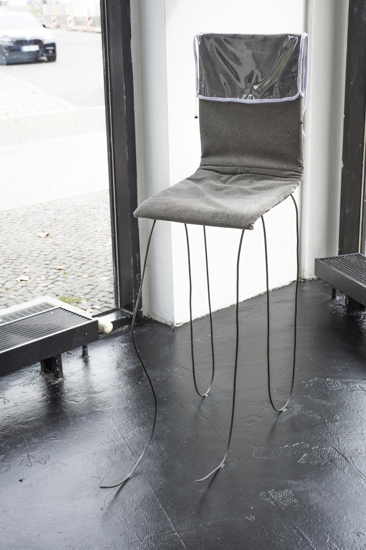 Nina Wiesnagrotzki,  Dragon I,  2018, Iron wire, fabric, wooden seat, crystal orb