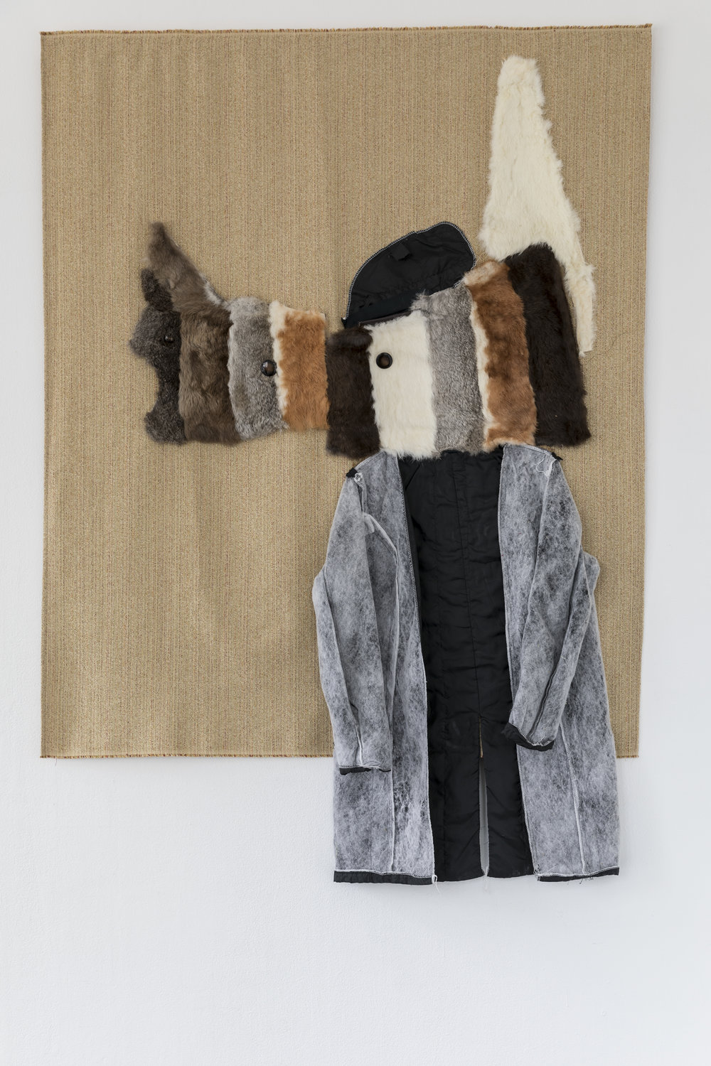 Mindy Rose Schwartz,  Canine Rabbit , 2018. Fur, lining, fabric