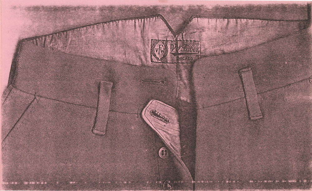Pati Hill,  Untitled (front of riding pants) , 1976, Black and white photocopy, In original mount, 8 ½ × 14 inches