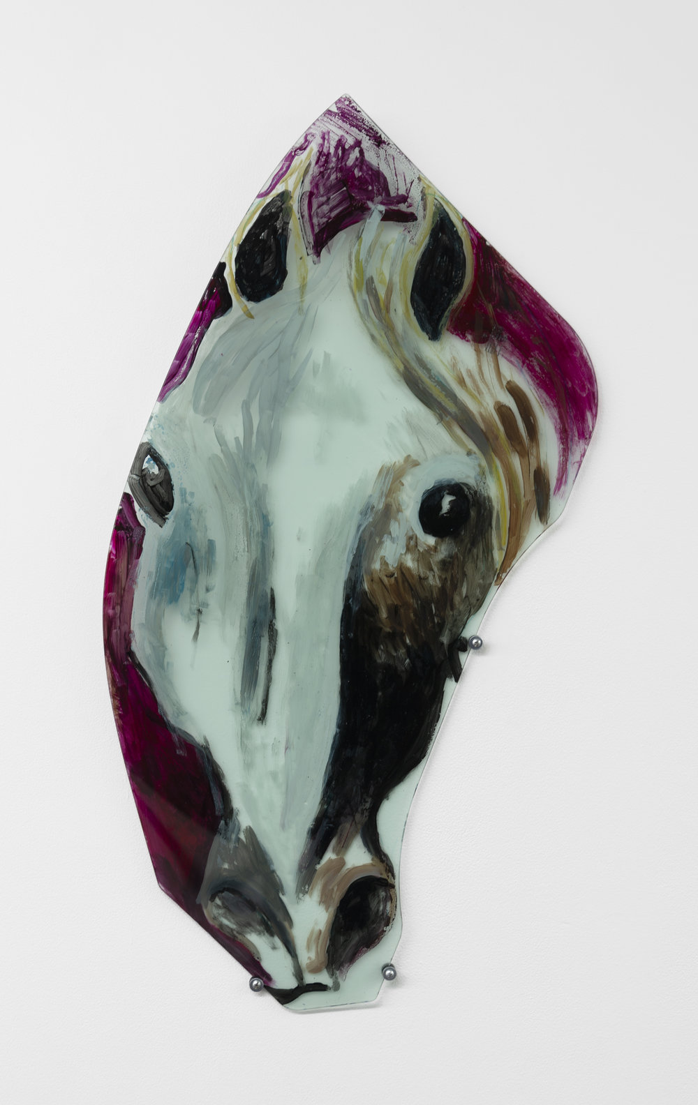 Jill Mulleady,  Head of White Horse,  2018, Enamel on Porsche windshield, 33 x 18 in