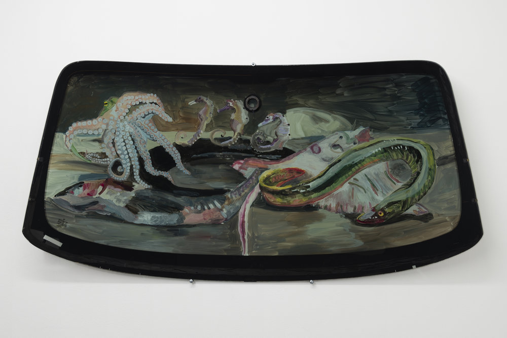 Jill Mulleady,  Still Life with Eel & Octopus , 2018, Enamel on Porsche windshield, 29 x 58 in