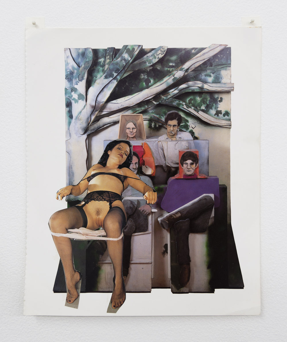 Narcissister,  Studies for Participatory Sculptures, Untitled (Joining the group, after Larry Rivers and Richard Kern) , 2018, Paper, rubber cement
