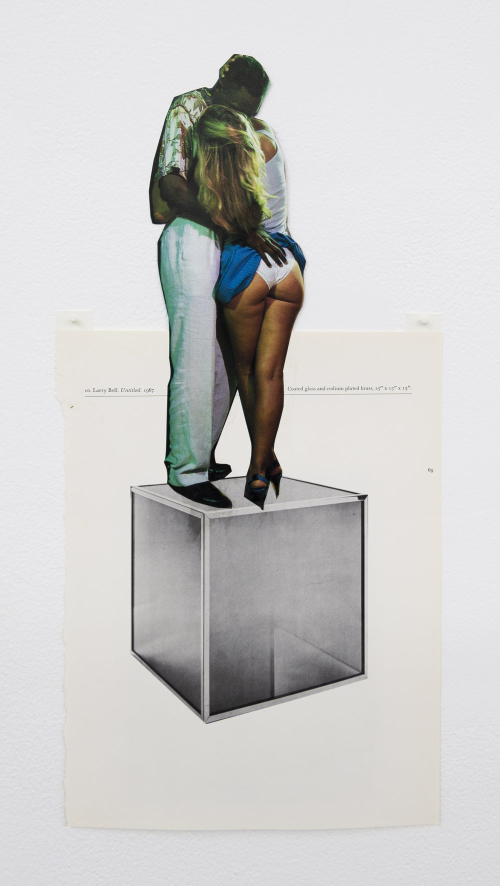 Narcissister,  Studies for Participatory Sculptures, Untitled (Performing an interracial couple, after Larry Bell) , 2018, Paper, rubber cement, 17 x 8.5 in
